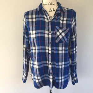 Topshop Lined Flannel Plaid Button Down